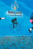 Baku - 21 de março de 2015: 2015 cartazes europeus dos jogos Fotos de Stock Royalty Free