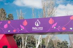 Baku - 21 de março de 2015: 2015 cartazes europeus dos jogos Fotografia de Stock Royalty Free