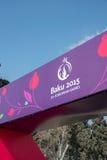 Baku - 21 de março de 2015: 2015 cartazes europeus dos jogos Imagens de Stock