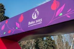 Baku - 21 de marzo de 2015: 2015 carteles europeos de los juegos Fotografía de archivo libre de regalías