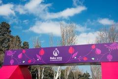 Baku - 21 de marzo de 2015: 2015 carteles europeos de los juegos Imagen de archivo libre de regalías