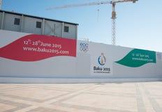 Baku - 21 de marzo de 2015: 2015 carteles europeos de los juegos Foto de archivo libre de regalías
