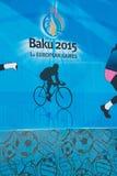 Baku - 21 de marzo de 2015: 2015 carteles europeos de los juegos Fotos de archivo libres de regalías