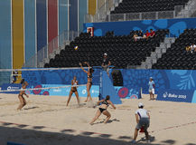 BAKU EUROPÉ GAMES-JUNE 20,2015-BEACH VOLL FÖR AZERBAIJAN-THE FÖRSTA Arkivfoto