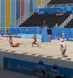 BAKU EUROPÉ GAMES-JUNE 20,2015-BEACH VOLL FÖR AZERBAIJAN-THE FÖRSTA Fotografering för Bildbyråer
