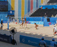 BAKU EUROPÉ GAMES-JUNE 20,2015-BEACH VOLL FÖR AZERBAIJAN-THE FÖRSTA Royaltyfria Foton