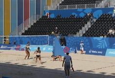 BAKU EUROPÉ GAMES-JUNE 20,2015-BEACH VOLL FÖR AZERBAIJAN-THE FÖRSTA Royaltyfri Bild