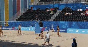 BAKU EUROPÉ GAMES-JUNE 20,2015-BEACH VOLL FÖR AZERBAIJAN-THE FÖRSTA Arkivbilder