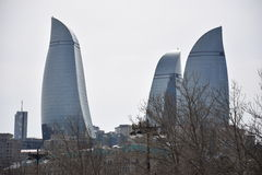 Baku Flame Towers Royaltyfri Foto
