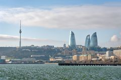 Baku Flame Towers and Old Town, Azerbaijan, taken in January 2019 stock photography