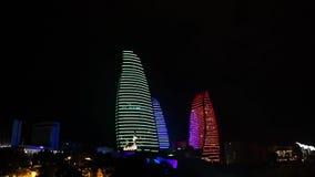 Baku Flaming Towers Neon Light stock footage