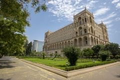 Baku Government House. In the centre of Baku, Azerbaijan the old Government House was built after WWII. A majestic building that is featured as a feature in stock images