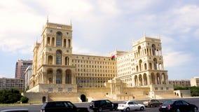 Baku Government House Azerbaijan Waving Flag. Baku Government House Side View with Azerbaijan Waving Flag on Flagpole stock video