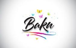 Baku Handwritten Vetora Word Text com borboletas e Swoosh colorido ilustração royalty free