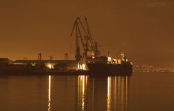 Baku haven bij nacht Stock Fotografie