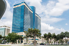 Baku - JULY 18, 2015: Hilton Hotel on July 18 in Baku, Azerbaija. N. Baku has many modern hotels royalty free stock image