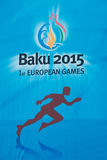 Baku - 21. März 2015: 2015 europäischer Spielposter Lizenzfreies Stockbild