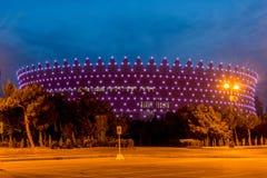 BAKU - MAJ 10, 2015: Heydar Aliyev Sports Complex Arkivbilder
