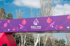 Baku - MARCH 21, 2015: 2015 European Games posters Royalty Free Stock Photography