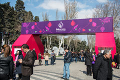 Baku - MARCH 21, 2015: 2015 European Games posters Stock Photography