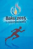 Baku - MARS 21, 2015: 2015 europeiska lekaffischer Royaltyfri Bild
