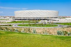 The Baku National Stadium. Baku National Stadium is a stadium designed to meet the international standards for stadiums set by the UEFA, FIFA and IAAF. Located royalty free stock image