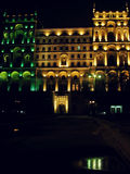 Baku By Night. Baku is lit up at night in early spring. The government buildings in Azerbaijan are solemn and beautiful stock photos