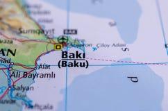Baku no mapa imagens de stock royalty free