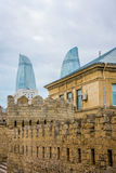Baku old town wall and flame towers Stock Photos