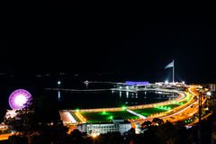 Baku panorama with highland park at night Stock Image