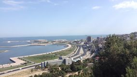 Baku, panoramic view from the mountain park stock video footage