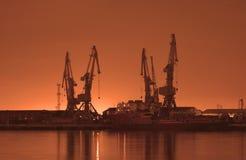 Baku port at night. Baku port at sunrise royalty free stock photography