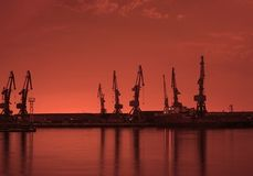 Baku port at night. Before sunrise Royalty Free Stock Image