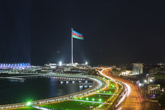 Baku seafront at night Stock Images