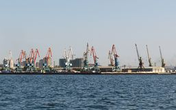 Baku Seaport on Caspian sea. Azerbaijan stock image