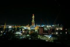 Baku shipyard.Baku port.Night view.Oil platform under repair.District Bail. Night Bail royalty free stock photo