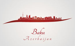 Baku skyline in red Royalty Free Stock Images