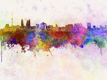 Baku skyline in watercolor Royalty Free Stock Images