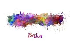 Baku skyline in watercolor Stock Photos