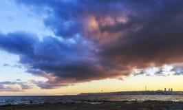 Baku at sunset boulevard and clouds. Nature Royalty Free Stock Photo