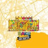 Baku Travel Secrets Art Map Imagen de archivo