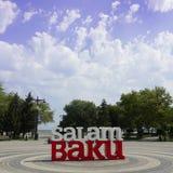 Baku Welcome Title på promenad royaltyfri fotografi