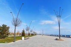 Baku White city Boulevard. New city park embankment. Azerbaijan. Baku White city Boulevard. New city park embankment in spring. Azerbaijan Royalty Free Stock Photo