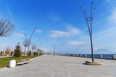 Baku White city Boulevard. New city park embankment. Azerbaijan. Baku White city Boulevard. New city park embankment in spring. Azerbaijan Stock Image
