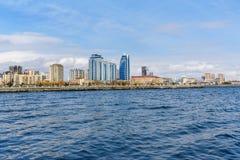 Baku White city Boulevard. New city park embankment. Azerbaijan. Baku White city Boulevard. New city park embankment in spring. Azerbaijan Royalty Free Stock Images