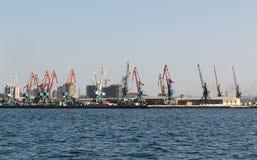 Baku Zeehaven op Kaspische overzees Stock Afbeelding