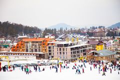 Bakuriani mountain resort view with ski lifts and slops in January 2019, Georgia royalty free stock photos