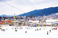 Bakuriani mountain resort view with ski lifts and slops in January 2019, Georgia stock image
