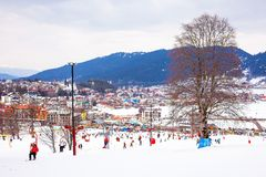 Bakuriani mountain resort view with ski lifts and slops in January 2019, Georgia royalty free stock photography