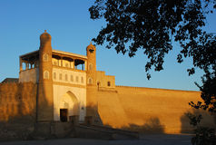 Bakvesting in Boukhara bij zonsondergang met bladeren Royalty-vrije Stock Fotografie